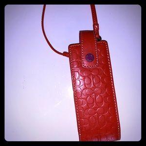Coach orange leather signature lipstick case!
